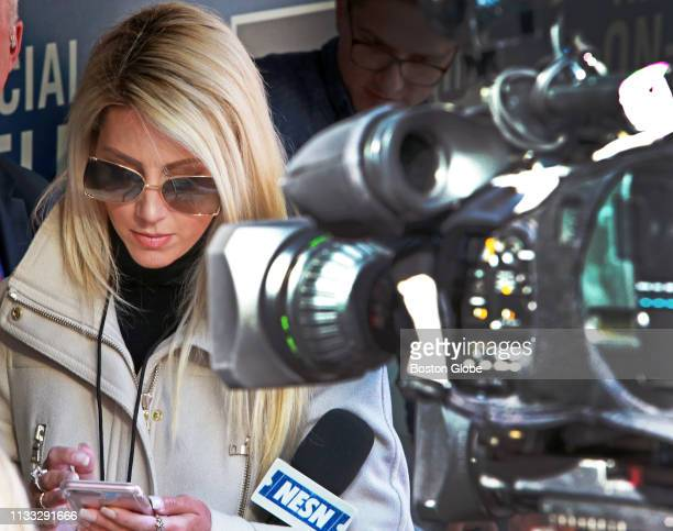 NESN reporter Guerin Austin is pictured in the Red Sox dugout before the game The Boston Red Sox visit the Seattle Mariners for their Opening Day MLB...