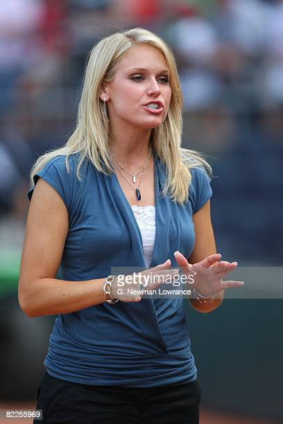 NESN reporter Heidi Watney talks into a camera prior to action against the Kansas City Royals on August 5 2008 at Kauffman Stadium in Kansas City...