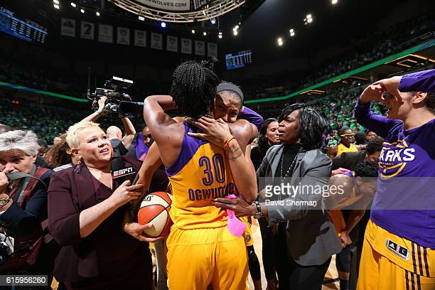 ESPN reporter Holly Rowe interviews Candace Parker and Nneka Ogwumike of the Los Angeles Sparks with General Manager Penny Toler after defeating the...