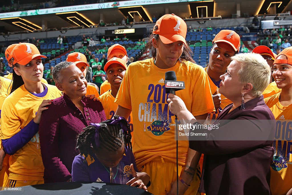 Reporter, Holly Rowe interviews Candace Parker #3 of the Los Angeles Sparks after Game Five of the 2016 WNBA Finals against the Minnesota Lynx on October 20, 2016 at Target Center in Minneapolis, Minnesota.