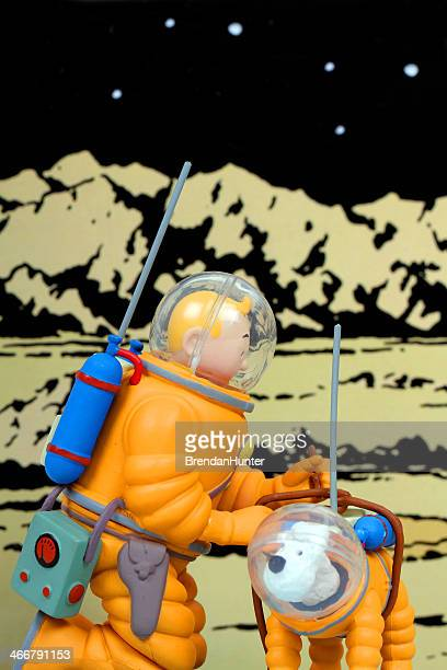 reporter in space - tintin stock photos and pictures