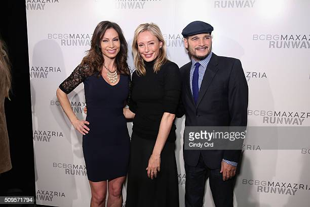 Reporter Jill Nicolini designer Lubov Azria and stylist Phillip Bloch pose backstage at the BCBGMAXAZRIA Fall 2016 fashion show during New York...