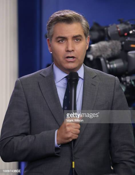 CNN reporter Jim Acosta reports from the briefing room at the White House on August 2 2018 in Washington DC The administration's top security...