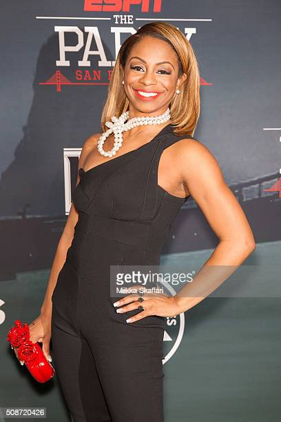 Reporter Josina Anderson arrives at the annual ESPN The Party at Fort Mason Center on February 5 2016 in San Francisco California