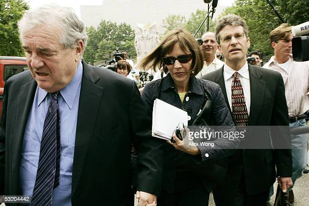 Reporter Judith Miller of the New York Times and her lawyer Bob Bennett arrive at US District Court July 6 2005 in Washington DC Miller and Time...