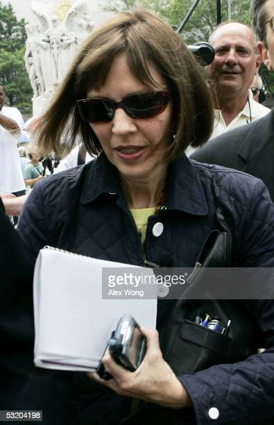 Reporter Judith Miller of the New York Times arrives at a US district court July 6 2005 in Washington DC Miller was sent to jail after she refused to...