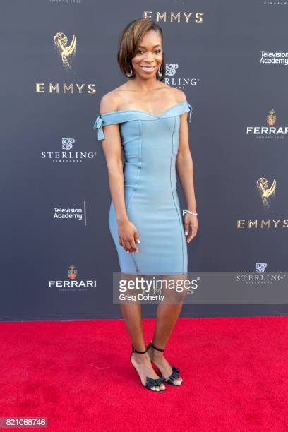 Reporter Kristina Pink arrives for the 69th Los Angeles Area Emmy Awards at Television Academy on July 22 2017 in Los Angeles California