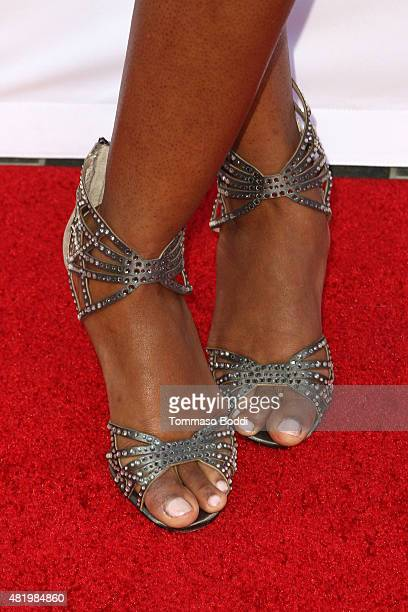 Reporter Kristina Pink shoe detail attends the 67th Los Angeles Area Emmy Awards held at the Skirball Cultural Center on July 25 2015 in Los Angeles...