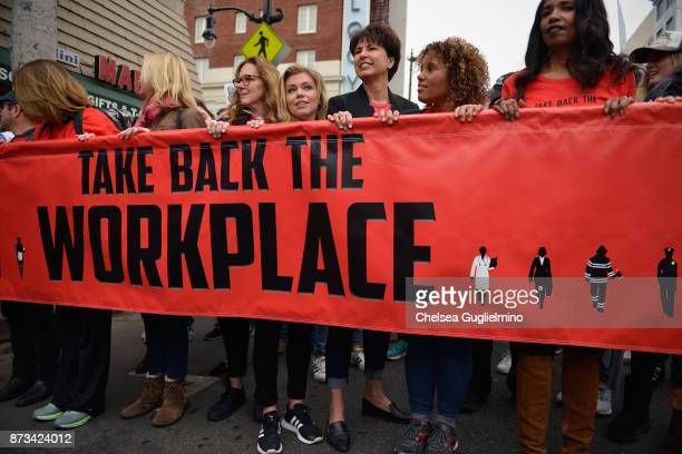 TV reporter Lauren Sivan and senator Connie Leyva seen at Take Back The Workplace March on November 12 2017 in Hollywood California