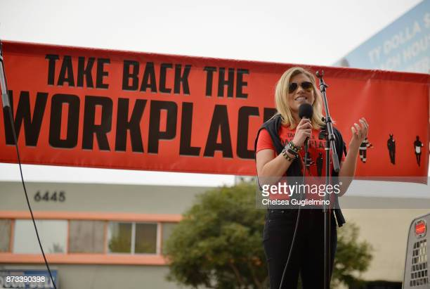 TV reporter Lauren Sivan speaks at the Take Back The Workplace March on November 12 2017 in Hollywood California