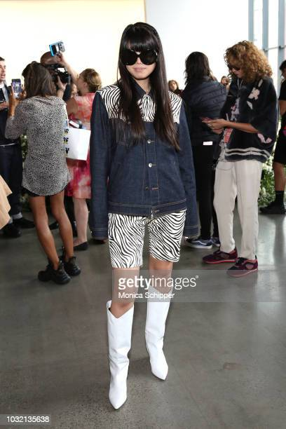 Reporter Leaf Greener attends the Calvin Luo front Row during New York Fashion Week The Shows at Gallery I at Spring Studios on September 12 2018 in...