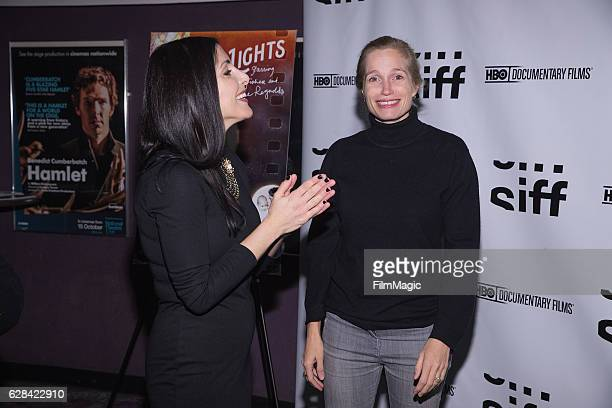 Reporter Lindsay Cohen and CoDirector Alexis Bloom arrive at the Seattle Premiere of the HBO Documentary 'Bright Lights' at SIFF Cinema Uptown...