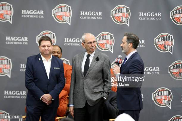 NBA reporter Marc Stein and Los Angeles Clippers announcer Ralph Lawler are the 2019 Curt Gowdy Media Award recipients at the 2019 Naismith Memorial...