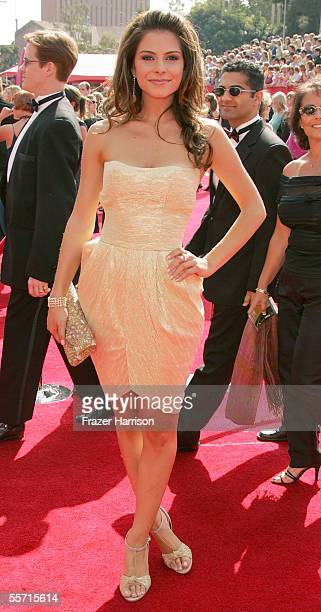 TV reporter Maria Menounos arrives at the 57th Annual Emmy Awards held at the Shrine Auditorium on September 18 2005 in Los Angeles California