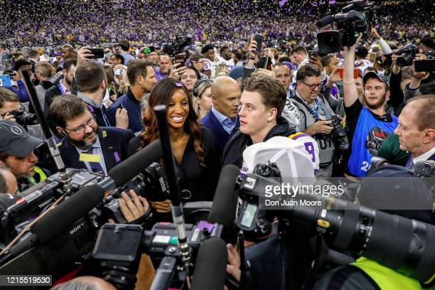Reporter Maria Taylor interview Quarterback Joe Burrow of the LSU Tigers after the College Football Playoff National Championship game against the...