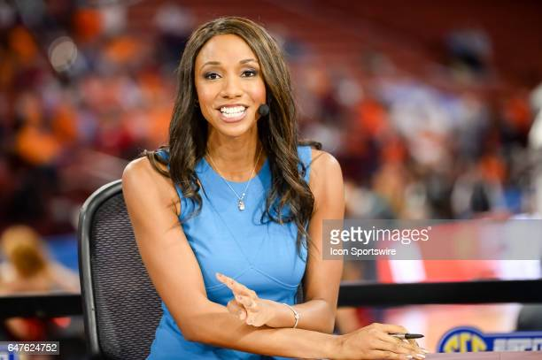 SEC reporter Maria Taylor preparing prior to 1st half action between the Auburn Tigers and the Georgia Bulldogs on March 02 2017 at Bon Secours...