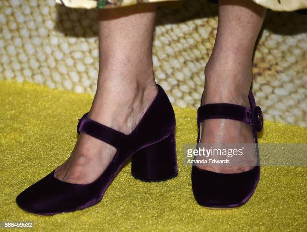 Reporter Martha Raddatz shoe detail arrives at the premiere of National Geographic's The Long Road Home at Royce Hall on October 30 2017 in Los...