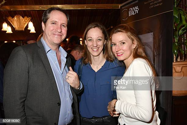 TV reporter Michel Scott Danuta Pieter from Les Pieces Jaunes and Anne Sophie Beauvais attend 'La Closerie Des Lilas' Literary Awards 2016 at La...