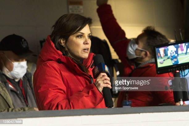 Reporter Michele Tafoya reports during the game between the Washington Football Team and the Philadelphia Eagles on January 3, 2021 at Lincoln...
