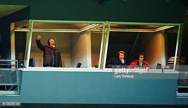 Reporter Morten Hausborg of Danmarks Radio Sporten in action during the Danish Alka Superliga match between Silkeborg IF and AaB Aalborg at Mascot...