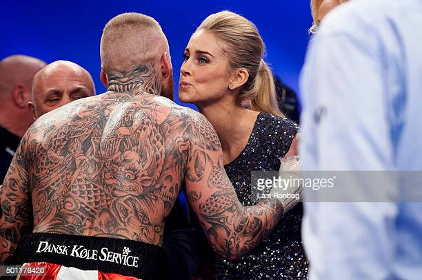 Reporter of TV3 Sport Camilla Martin and Patrick Nielsen during the Sauerland Promotion Boxing Ondt Blod Match at Brondby Hallen on December 12 2015...