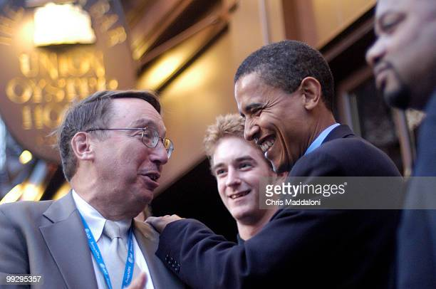 Reporter Paul Green WGN Radio Chicago shares a laugh with Senate candidate Barack Obama DIl the night before the Democratic National Convention 2004...