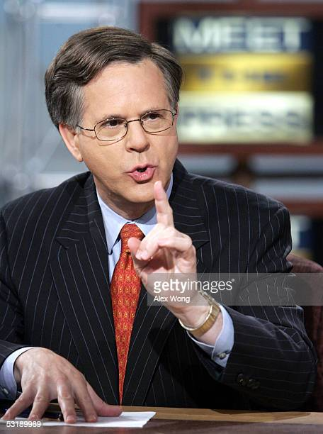Reporter Pete Williams of NBC speaks on 'Meet the Press' July 3 2005 during a taping at the NBC studios in Washington DC Williams talked about the...