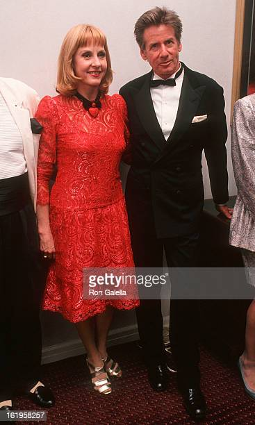 """Reporter Pia Lindstrom and fashion designer Calvin Klein attend the Screening of the Showtime Original Movie """"Chantilly Lace"""" on June 15, 1993 at the..."""