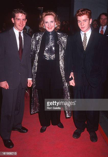 """Reporter Pia Lindstrom and sons Justin and Nicholas Daly attend the """"Casablanca"""" 50th Anniversary Screening on April 7, 1992 at the Museum of Modern..."""