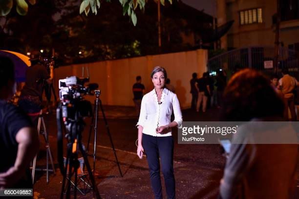 BBC TV reporter pictured during handles a TV report at outside of the North Korean Embassy on March 05 2017 in Kuala Lumpur Malaysia Malaysia said on...