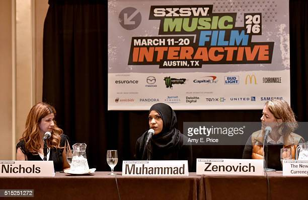 ESPN reporter Rachel Nichols American sabre fencer Ibtihaj Muhammad and filmmaker Marina Zenovich speak onstage at 'The New Church Sport as Currency...