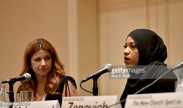 Reporter Rachel Nichols and American sabre fencer Ibtihaj Muhammad speak onstage at 'The New Church: Sport as Currency of American Life' during the...