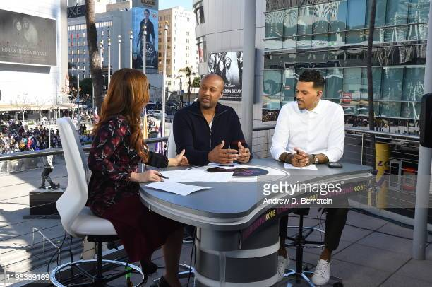 Reporter, Rachel Nichols and former NBA players, Byron Scott and Matt Barnes speak talk on the ESPN pre-game show before the game between the...