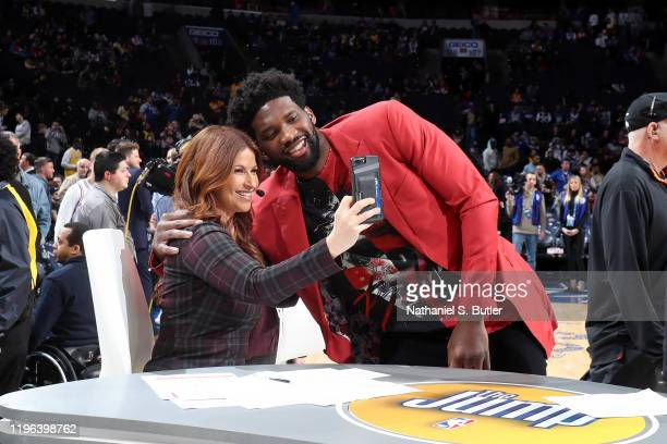 Reporter, Rachel Nichols and Joel Embiid of the Philadelphia 76ers take a photo before the game against the Los Angeles Lakers on January 25, 2020 at...