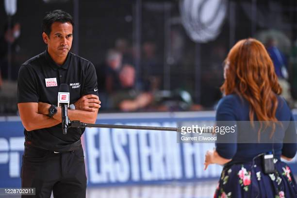 Reporter, Rachel Nichols interviews Head Coach, Erik Spoelstra of the Miami Heat during the game against the Boston Celtics during Game Four of the...