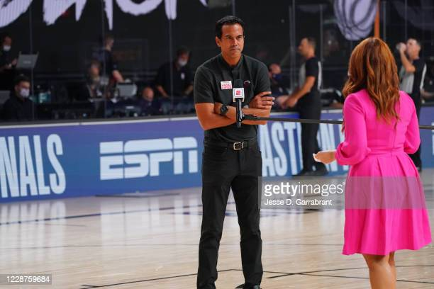 Reporter, Rachel Nichols, interviews Head Coach Erik Spoelstra of the Miami Heat during Game Six of the Eastern Conference Finals of the NBA Playoffs...