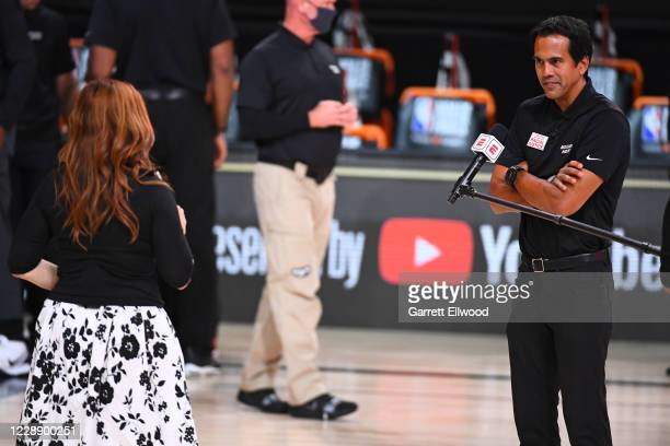 Reporter, Rachel Nichols, interviews Head Coach Erik Spoelstra of the Miami Heat during Game Three of the NBA Finals on October 4, 2020 at the...