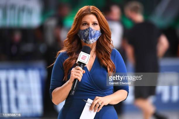 Reporter Rachel Nichols interviews players during the game between the Miami Heat and the Boston Celtics during Game Two of the Eastern Conference...