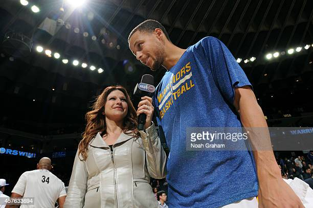 TNT reporter Rachel Nichols interviews Stephen Curry of the Golden State Warriors after the game against the Los Angeles Clippers on October 21 2014...