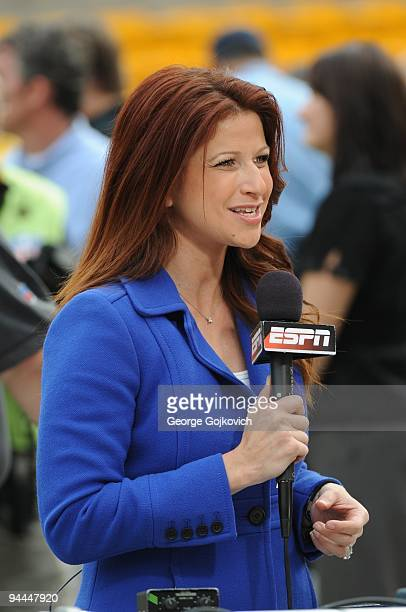 ESPN reporter Rachel Nichols reports from the sideline before the start of a game between the Cincinnati Bengals and Pittsburgh Steelers at Heinz...
