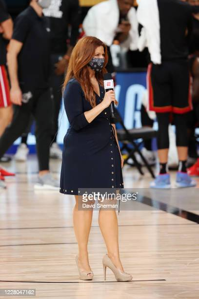 Reporter Rachel Nichols reports from the sideline during the game between the Miami Heat and the Indiana Pacers on August 14, 2020 at AdventHealth...