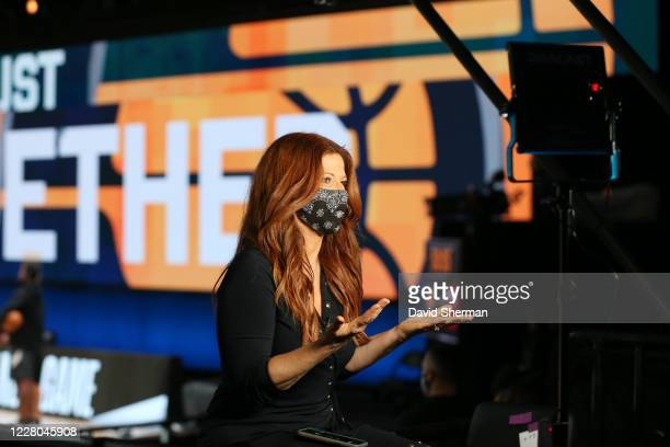 Reporter Rachel Nichols reports from the sideline prior to the game between the Miami Heat and the Indiana Pacers on August 14, 2020 at AdventHealth...