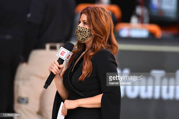 Reporter Rachel Nichols seen during Game Four of the NBA Finals on October 6, 2020 at the AdventHealth Arena at ESPN Wide World Of Sports Complex in...