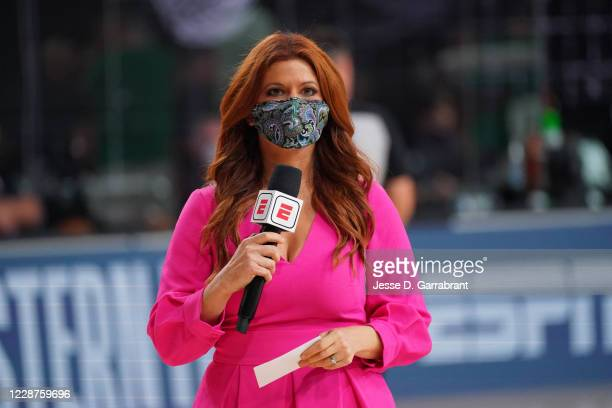 Reporter, Rachel Nichols, seen during Game Six of the Eastern Conference Finals of the NBA Playoffs on September 27, 2020 at the AdventHealth Arena...