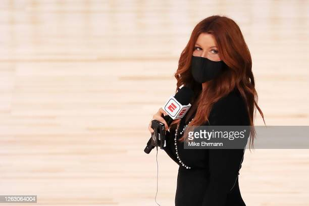 Reporter Rachel Nichols stands on the court before a game between the Houston Rockets and the Dallas Mavericks at The Arena at ESPN Wide World Of...