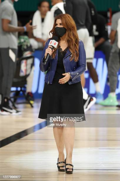 Reporter Rachel Nichols talks to the media on August 10, 2020 at The Field House at ESPN Wide World Of Sports Complex in Orlando, Florida. NOTE TO...