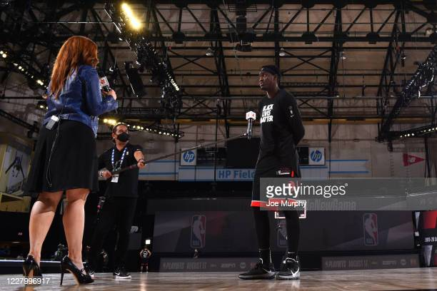 Reporter Rachel Nichols talks with Pascal Siakam of the Toronto Raptors after the game on August 10, 2020 at The Field House at ESPN Wide World Of...