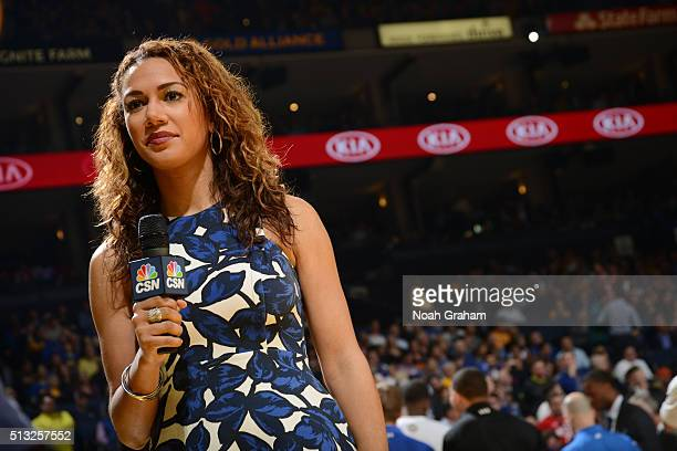 CSN reporter Rosalyn GoldOnwude as the Atlanta Hawks face the Golden State Warriors on March 1 2016 at Oracle Arena in Oakland California NOTE TO...