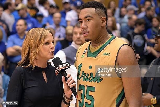 ESPN reporter Shannon Spake interviews Bonzie Colson of the Notre Dame Fighting Irish following their game against the Duke Blue Devils at Cameron...
