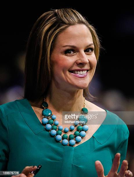 ESPN reporter Shannon Spake seen on the court before the game between the Butler Bulldogs and Gonzaga Bulldogs at Hinkle Fieldhouse on January 19...